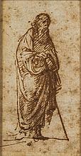 École florentine du début du XVIesiècle Étude de personnage drapé Plume et encre brune 6 x 3cm Drawings