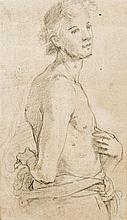 Attribué à Jacopo CHIMENTI dit jacopo da EMPOLI (Florence 1551-1640) Drawings Étude d'homme vu à mi-corps Crayon noir, estompe 23,5...