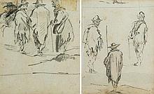 Entourage de Jacques CALLOT Drawings Étude de paysans : recto-verso Plume et encre grise, crayon noir 11,5 x 9,5cm Taches