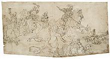 École flamande du XVIIIesiècle Choc de cavalerie Encre grise, lavis brun 28,5 x 55cm Drawings Irrégulier dans le bas, pliures, tac...