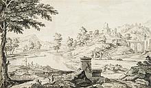 Étienne ALLEGRAIN (Paris 1644-1736) Paysage classique Lavis gris 27,5 x 45,5cm Taches Drawings