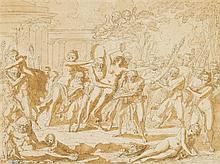 Louis-Félix de LA RUE (Paris 1720-1765) Bacchanale Plume en encre grise, lavis brun 20,5 x 27cm Drawings