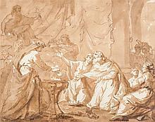 Philippe Louis PARIZEAU (Paris 1740-1801) Scène de sacrifice antique Drawings Plume et encre brune, lavis brun sur traits de crayon...