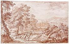 louis de silvestre le vieux (paris 1669-1740) Drawings Diane chassant dans un paysage classique Sanguine 20 x 30,5cm Petites traces...