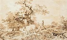 Jean-Honoré FRAGONARD (Grasse 1732 – Charreton 1799)  Le retour du troupeau Drawings Lavis de bistre sur traits de crayon noir 21,3...