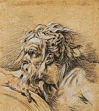 École française du XVIIIesiècle Étude de tête d'homme barbu de profil Crayon noir et sanguine 17 x 15cm Drawings Rehauts de blanc...