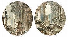 Jean-Henry PERNET (Paris 1763 - ?) Paire de ruines antiques animées Drawings Plume et encre brune, aquarelle 22 x 19,5cm de forme o...