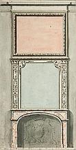 École française vers 1700, entourage de Jean LE PAUTRE Projet de cheminée avec boiserie Drawings Aquarelle, plume et encre noire sur...