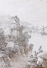Louis François CASSAS (Azay-le-Ferron 1756 – Versailles 1827) Vue d'un petit temple de Vénus dans les Apennins en Calabre Drawings P...