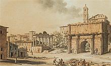 Victor-Jean NICOLLE (Paris 1754-1826) Vue de l'arc de Septime Sévère et des restes du temple de la Concorde Drawings Aquarelle, plum...