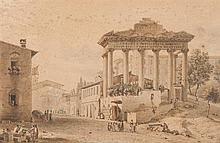 Victor-Jean NICOLLE (Paris 1754-1826) Vue du Temple de Saturne sur le Forum à Rome, animée d'un dessinateur Drawings Aquarelle, plum...