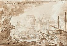 École italienne de la fin du XVIIIesiècle Projet de décor de théâtre Drawings Plume et encre brune lavis brun sur traits de crayon...