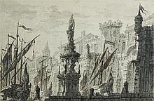 École italienne du XVIIIesiècle Bâteau à quai dans un port, devant une fontaine baroque Drawings Plume à l'encre noire, lavis gris...