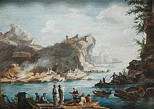 École italienne du XVIIIesiècle Bord de mer, paysage classique animé Gouache 8 x 11cm Drawings Deux feuilles rajoutées sur les bords
