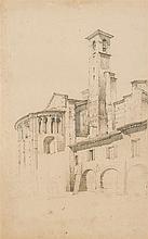 Jules Romain JOYANT (Paris 1803-1854) église romane Saint-Trophime d'Arles Crayon noir 42 x 26cm Drawings Daté sur le clocher «MDC...