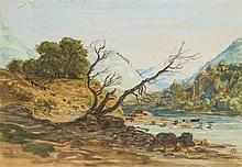 Auguste Paul ANASTASI (Paris 1820-1889) Paysage de bord de rivière Drawings Aquarelle gouachée sur traits de crayon noir 11,5 x 17c...