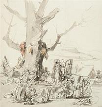 Isidore PILS (Paris 1813–Douarnenez 1875) Campement kabyle Aquarelle sur traits de crayon noir 42,5 x 41cm Drawings Petites piqûres