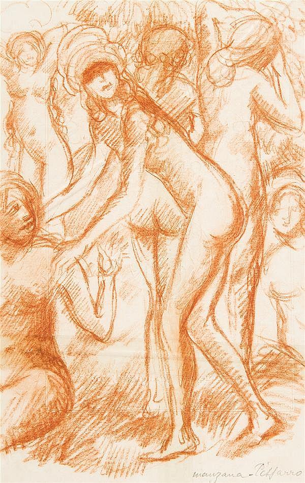 Georges MANZANA-PISSARRO (Louveciennes 1871-1961) Bacchanale Sanguine 26,5 x 17cm Drawings Signé en bas à droite