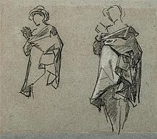 Thomas COUTURE (Senlis 1815-Villiers-le-Bel 1879) Drawings Feuille d'étude avec deux personnages Crayon noir et rehauts de craie bla...