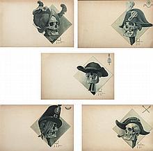 Hugo Carl SCHMIDT (Genève 1856 - ?)Drawings Allégorie des semeurs de morts : le conquistador, le prêtre, deux révolutionnaires, un s...
