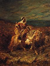 ADOLF SCHREYER (1828-1899) CAVALIER ALGÉRIEN ALGERIAN HORSEMAN Huile sur toile signée en bas à gauche
