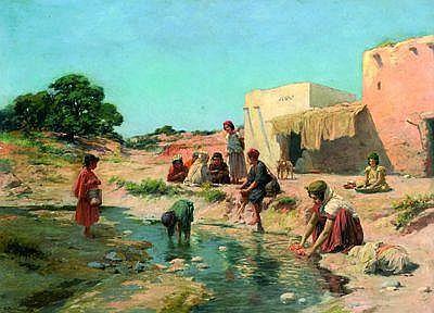 José Alsina (19e-20e siècle) la vie au bord de loued Huile sur toile, signée en bas à gauche