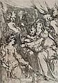 JACQUES BELLANGE SAINTE FAMILLE AVEC SAINTE CATHERINE - SAINT JEAN ET UN ANGE. (Walch 15 ; R.D. 11 Ier et/II) 267 x 187. Eau-forte. ...