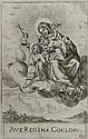 Odoardo FIALETTI LA VIERGE AVEC L'ENFANT ET ST JEAN BAPTISTE SUR LES NUÉES. (Bartsch 1) 164 x 103. Eau-forte. Très belle épreuve, lé...