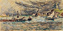 Paul Signac (1869-1952) Retour au port, (Bretagne) 1927 Aquarelle et fusain sur papier Signée et datée en bas à gauche 13 x 26,5cm