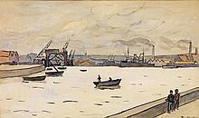 Louis Robert Antral (1895-1940) Le port duHavre Encre et aquarelle sur papier Signée en bas à droite 27 x 44cm