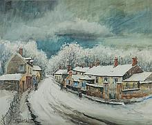 FRANCK WILL (1900-1951) Village sous la neige Aquarelle et crayon sur papier Signée en bas à gauche 44,5 x 54 cm