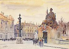 Anonyme Place de la concorde Aquarelle sur papier Signée en bas à gauche 24 x 32,5cm
