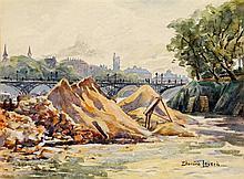 Édouard Leverd XXE SIècle Vues de Paris Paire d'aquarelles sur papier Signées en bas à droite 22 x 30cm