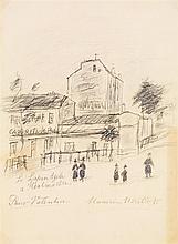MAURICE UTRILLO (1883-1955) Le lapin agile à MONTMARTRE Fusain sur papier Tittré en bas à gauche Signé et dédicacé en bas au milieu ...