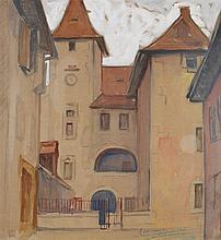 Augustin Ferrando (1880-1857) Vue de la ville Gouache sur papier Signée et dédicacée en bas à droite 46,5 x 43cm