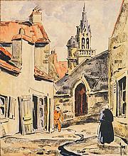Robert Yan (1901-1994) Vue de village Aquarelle, encre et fusain sur papier Signée en bas à droite 28 x 23cm