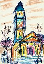 Armand-Henri Nakache (1894-1976) Ensemble de 5 dessins 1) église Craies de couleurs sur papier Signée en bas à gauche 2) église Aqua...