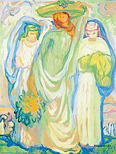Augustin Ferrando (1880-1857) Trois femmes Gouache sur papier Signée en bas à droite 61 x 47cm