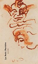 Kees van Dongen (1877-1968) Portraits Sanguine sur papier à entête Signée des initiales en bas à droite 11 x 6,5 cm
