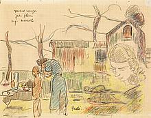 Jean Misceslas Peské (1880-1949) Au jardin Crayon et crayons de couleur sur papier Signé en bas au milieu 18 x 22cm