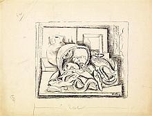 Moïse Kisling (1891-1953) Nature morte aux poissons Encre sur papier Signée en bas à droite 27 x 36cm