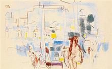 Jacques (Jacob Kikoine) Yankel (1920) Baigneuses à Collioure Pastel sur papier Signé en bas à gauche 26 x 41cm