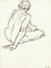 GOETZ Henri (1909-1988) Nu assis Crayon sur papier marouflé sur toile Signé en bas à droite 40 x 30cm