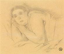 Léopold Survage (1879-1968) L'épouse de l'artiste endormie Crayon sur papier Signé en bas à droite Porte le cachet de l'artiste en b...
