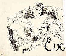 André Dignimont (1891-1965) Eve Encre sur papier Signée en bas au milieu Titrée en bas à droite 25 x 28,5cm