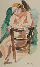 André Planson (1898-1981) Nu à la chaise, 1931 Aquarelle et sanguine sur papier Signée et datée
