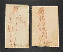 Celso Lagar (1891-1966) Deux nus féminins Deux dessins Sanguine sur papier Signées en bas à droite 30 x 20cm