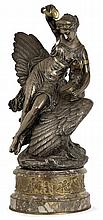 Louis-Charles-Hippolyte BUHOT (1815-1865) A large gilt and silvered bronze sculpture figuring Hebe and Aquila, standing on an ornemente
