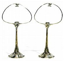 Édouard COLONNA (1862-1948) A pair of silvered brass Art Nouveau lamp bases. One of the lamps is signed with the artist's mark. Height.