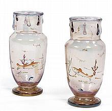 Eugène ROUSSEAU (1827-1891) & Ernest-Baptiste LÉVEILLÉ (1841-1913) A pair of small acid-etched and enamelled glass baluster vases. Heig